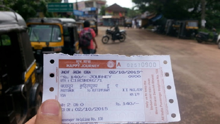 A General class train ticket from Payyanur to Kuttipuram (To Guruvayur Temple)