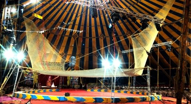 Acrobatics safety net at Rambo Circus Show, Bangalore