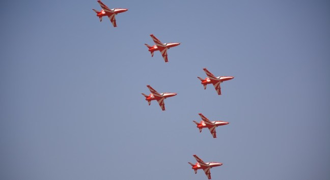 Surya Kiran acrobatics formation at Aero India Show, Bangalore Air Show 2017, Aero Show 2017, Indian Air show