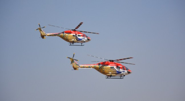 Helicopters performance at Aero India Show, Bangalore Air Show 2017, Aero Show 2017, Indian Air show