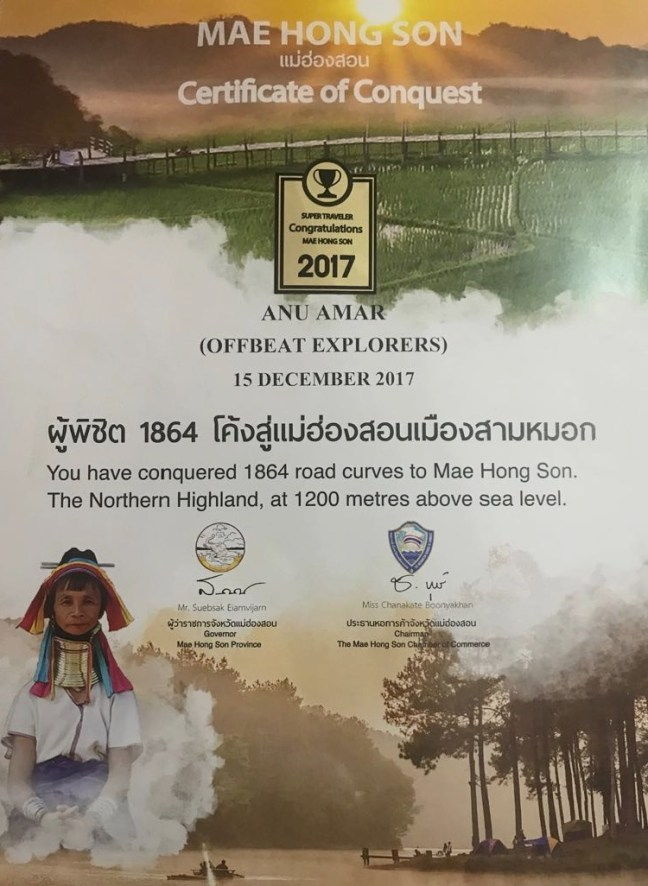 Where and How to get your Mae Hong Son Loop Certificate of Conquest – For Conquering 1864 Curves to Mae Hong Son. You can grab the one from Coffee Shop (Café Station) opposite Mae Hong Son Post Office or alternately can also get from Mae Hong Son Chamber of Commerce - Motorbike backpacking trip across Mae Hong Son Loop, Thailand