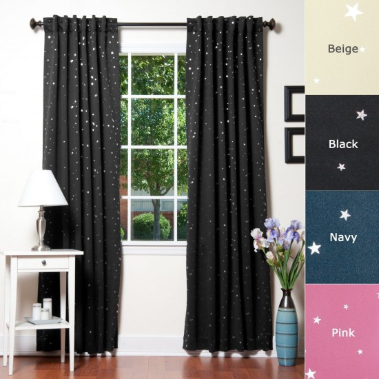 Star Print Thermal Insulated Blackout Curtain Set in black, beige, navy, and pink.