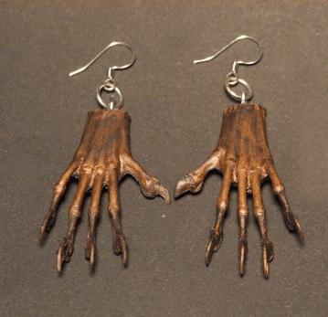 Miniature Mummified Mystery Hand Earrings.