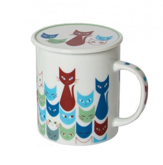 Miya Mask Blue Cat Mug with Lid, $22.