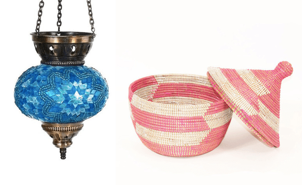 Turquoise Bazaar Lantern from Turkey and handwoven Senegalese basket.