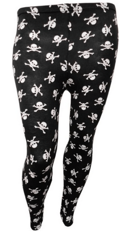 There's a whole bunch of neat leggings available up to size 22. They're a viscose-elastene blend, though, and I'm not sure how hot they'd be to work out in for long periods of time. But skull and crossbone leggings are enough to get me to try!