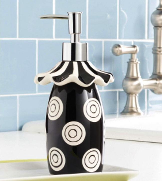 Mud Pie Ruffles Black and White Polka Dot Pump Soap Dispenser