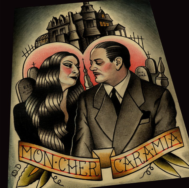 Morticia and Gomez Addams art print by Etsy seller ParlorTattooPrints