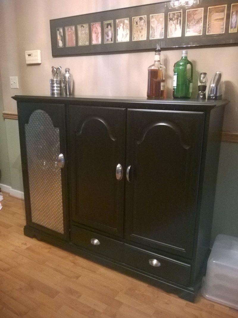 DIY bar from a media cabinet