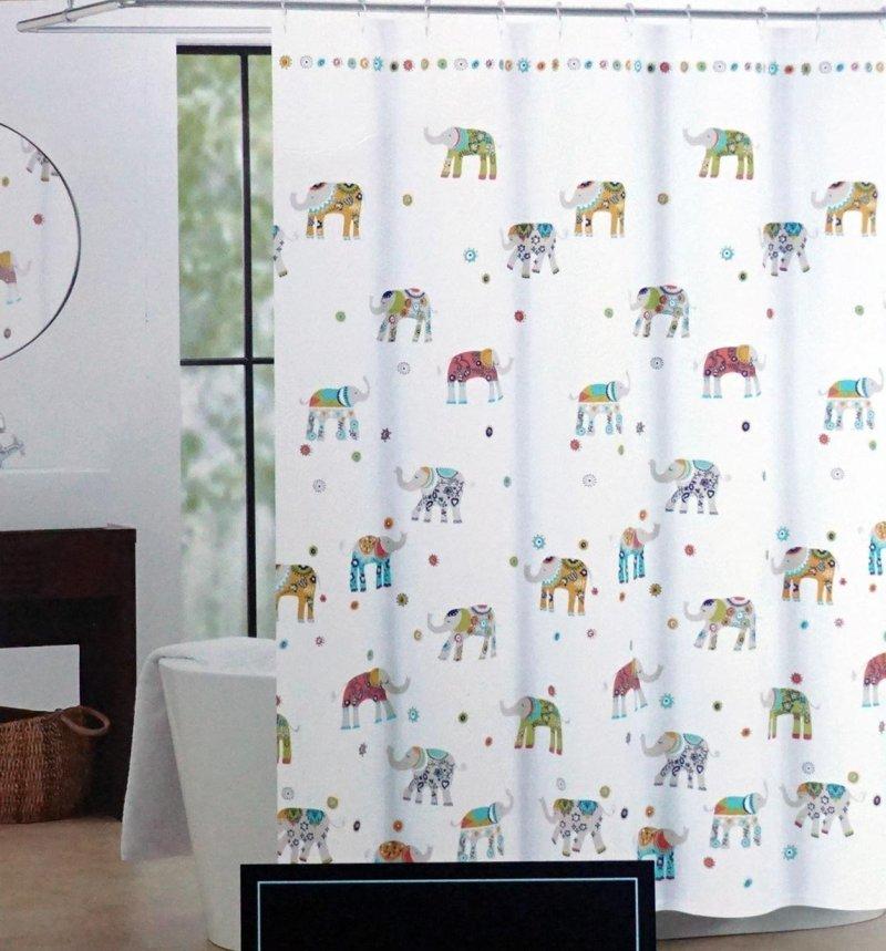 Cynthia Rowley Indian Elephant Fabric Shower Curtain