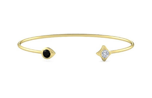 Eclipse Pear Bangle with black onyx and diamond -- $665