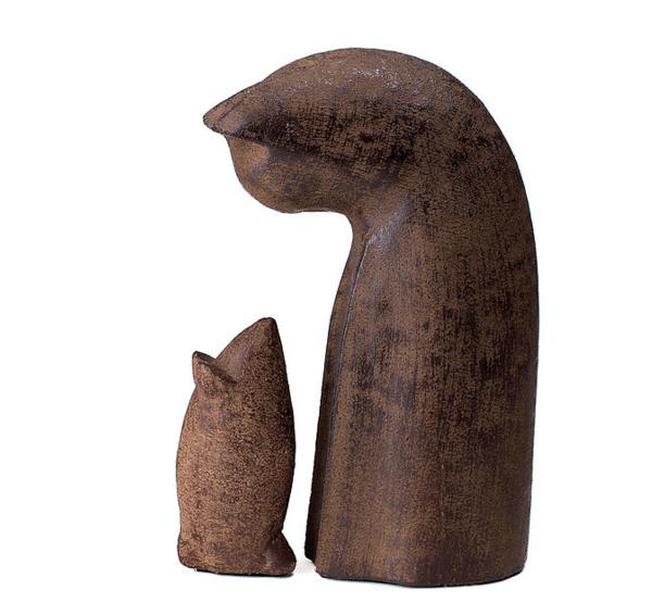 Cat and Mouse Garden Sculpture Set