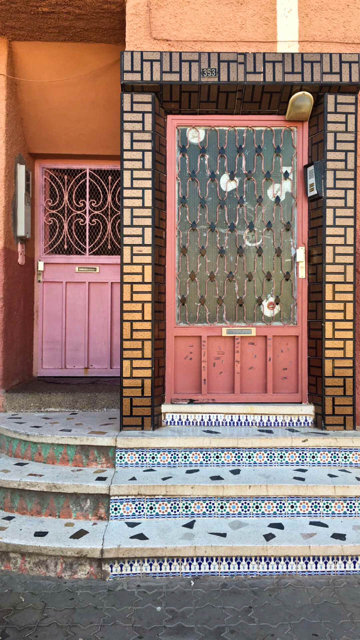 Awesome mutli-colored and patterned tile work as well as door colors.