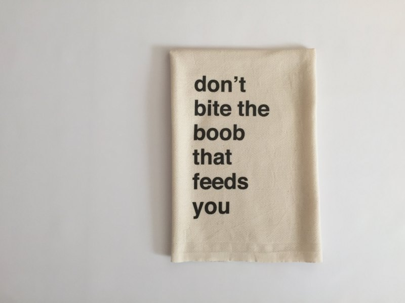 """""""Don't bite the breast that feeds you"""" burp cloth by Etsy seller NewbeesShop"""