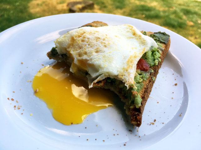 My favorite 5 minute meal: Egg and avocado toast