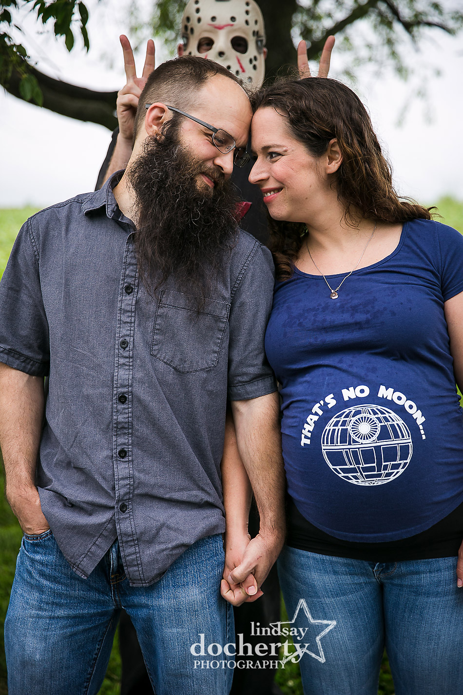 No place to hide at this horror-meets-geek maternity shoot guest starring Jason Voorhees