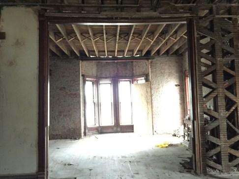 Living room, facing the east bay window.