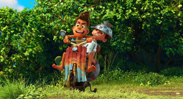 Still from Pixar's Luca  Showing Luca and Alberto on their makeshift Vespa