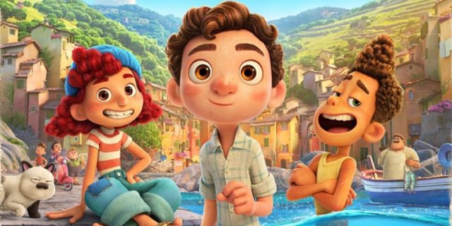 Still from Pixar's Luca  Showing the trio of Luca, Giulia and Alberto
