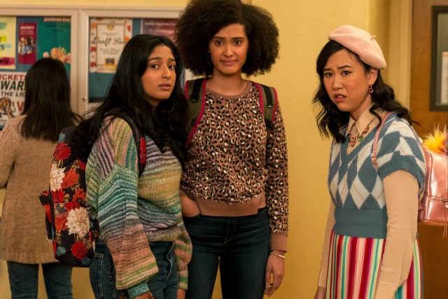 NEVER HAVE I EVER (L to R) MAITREYI RAMAKRISHNAN as DEVI VISHWAKUMAR, LEE RODRIGUEZ as FABIOLA TORRES, and RAMONA YOUNG as ELEANOR WONG in episode 202 of NEVER HAVE I EVER Cr. ISABELLA B. VOSMIKOVA/NETFLIX © 2021