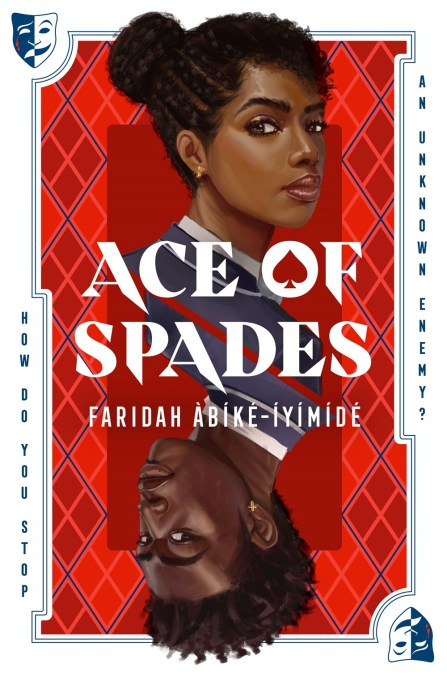 Two Black teenagers faces against a red plaid background. On the top is Chiamaka, her braided hair in a bun, with a gold earring in her ear. Below, arranged upside down like the suits on a playing card, is Devon, also with a gold earring.  Book Cover.