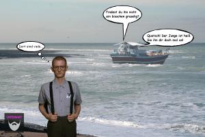 Bildnachweis:Nerd by David Nichols CC-BY-SA 2.0, Sea by isamiga76 CC-BY 2.0 und boat by Ryan Lackey CC-BY 2.0 montiert und bearbeitet von Simon Mallow.