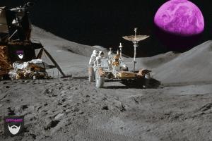 Bildnachweis:Apollo 15 Moon Landing by Futurilla CC-BY 2.0, bearbeitet von Simon Mallow.