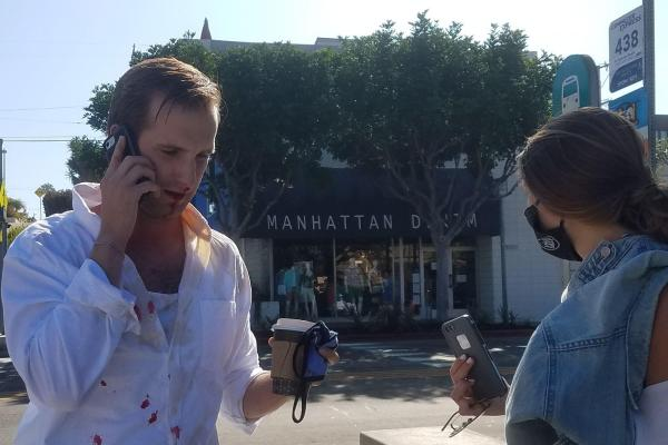 EXCLUSIVE: Anti-Trump Mask Nazis Throw Coffee on Man Eating Burrito; Beta Male Gets Knocked Out