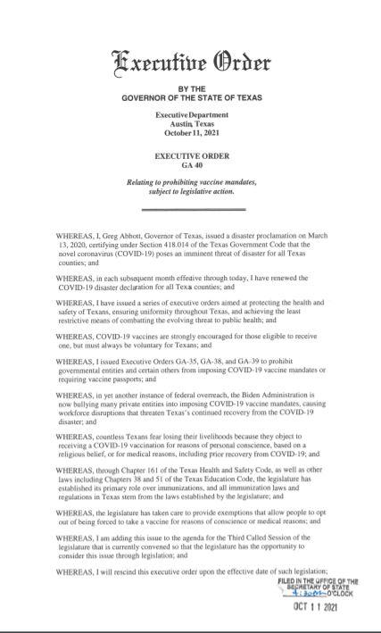 governor abbott bans vaccine
