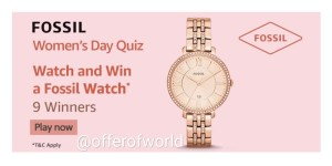 Amazon Fossil Women's Day Quiz Answers
