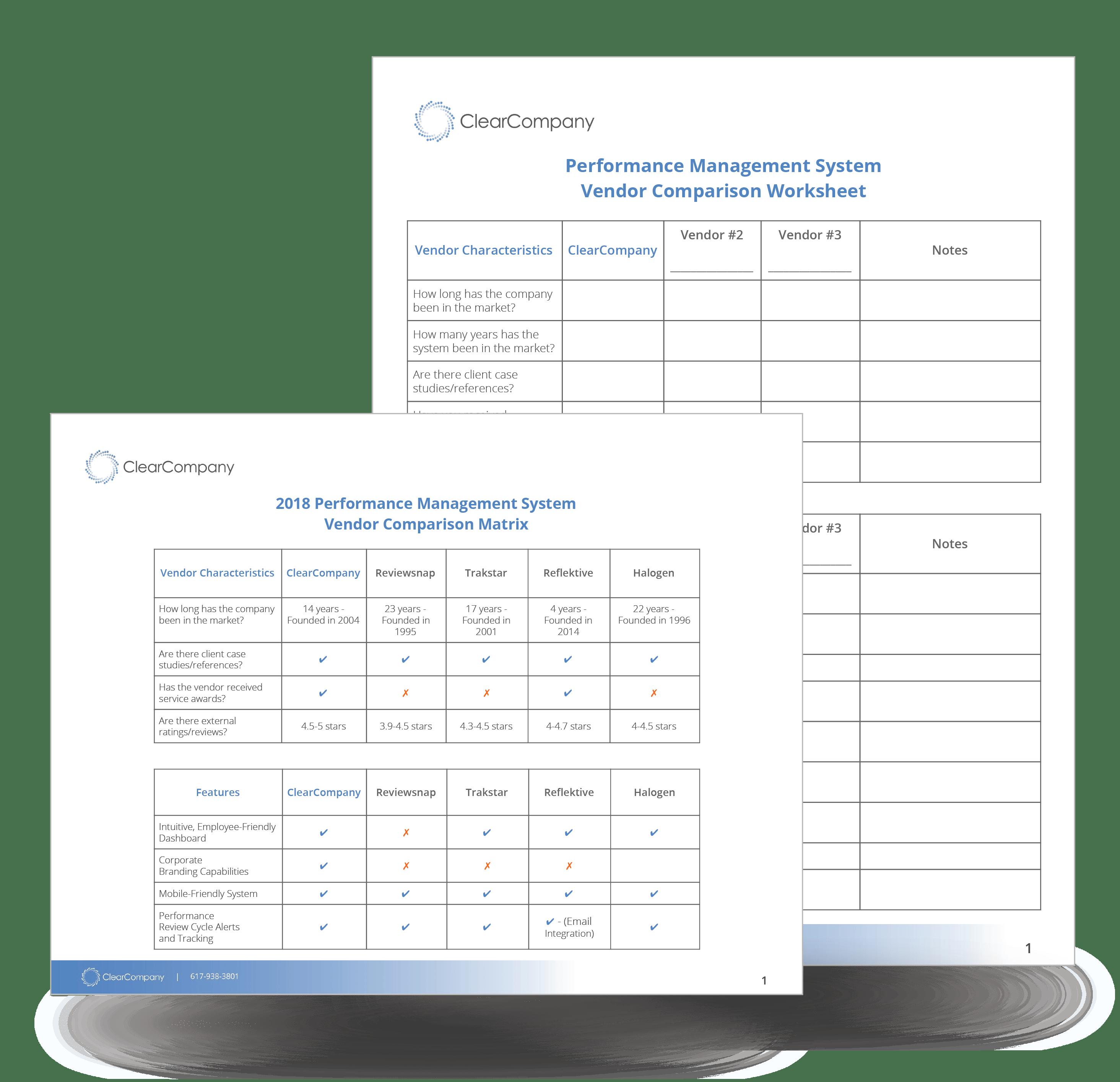 Performance Management Vendor Comparison Matrix