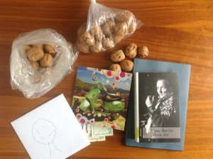 From our colleagues and boss.  The walnuts were a game where we had to spell what we were getting as presents: a coffee machine (still at the office) and money for a walnut tree :)