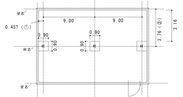 壁芯や柱芯を記載した工務店作成の図面