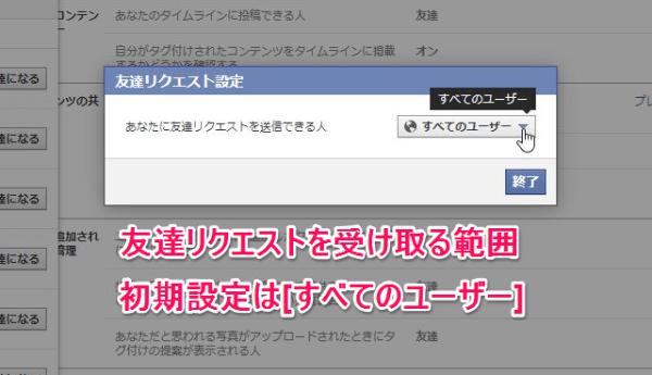 フェイスブック 友達設定