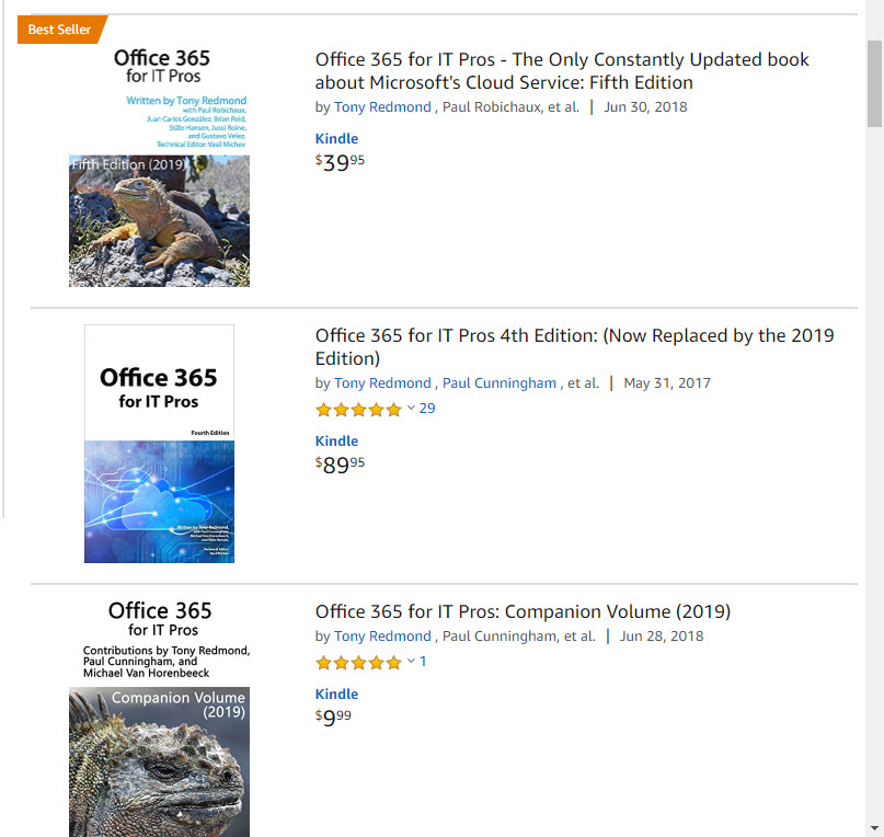 Reviews for Office 365 for IT Pros (2019 edition) on Amazon.