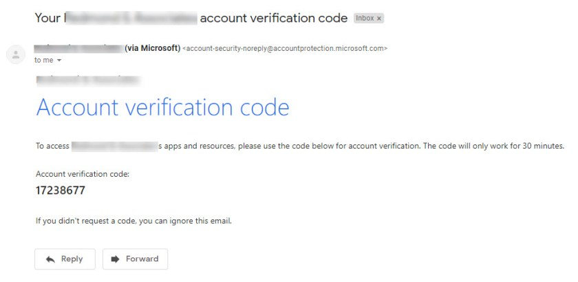 A one-time password code generated by Azure Active Directory as seen by the recipient.