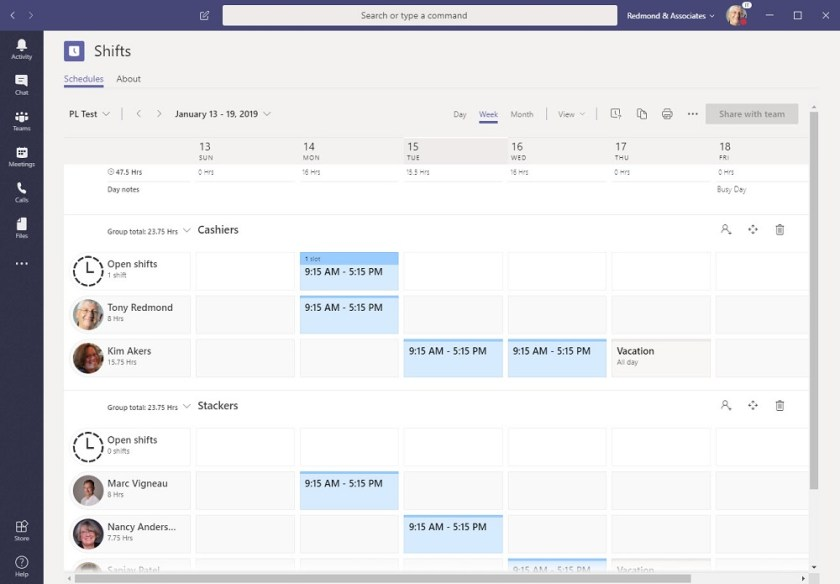 Building out a schedule for a week with the Teams Shifts app