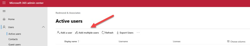 Option to add multiple users in the Microsoft 365 Admin Center