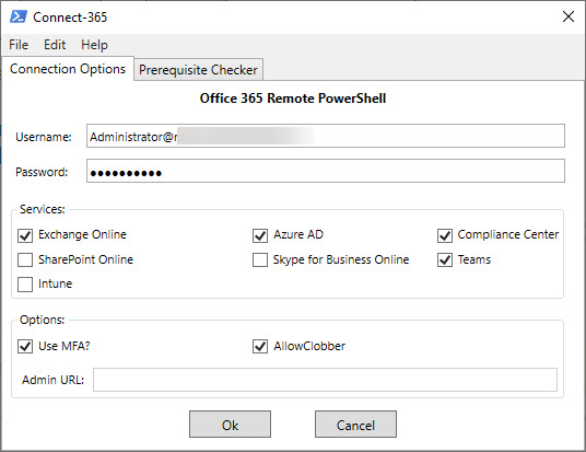 Select the Office 365 Services to connect to with PowerShell