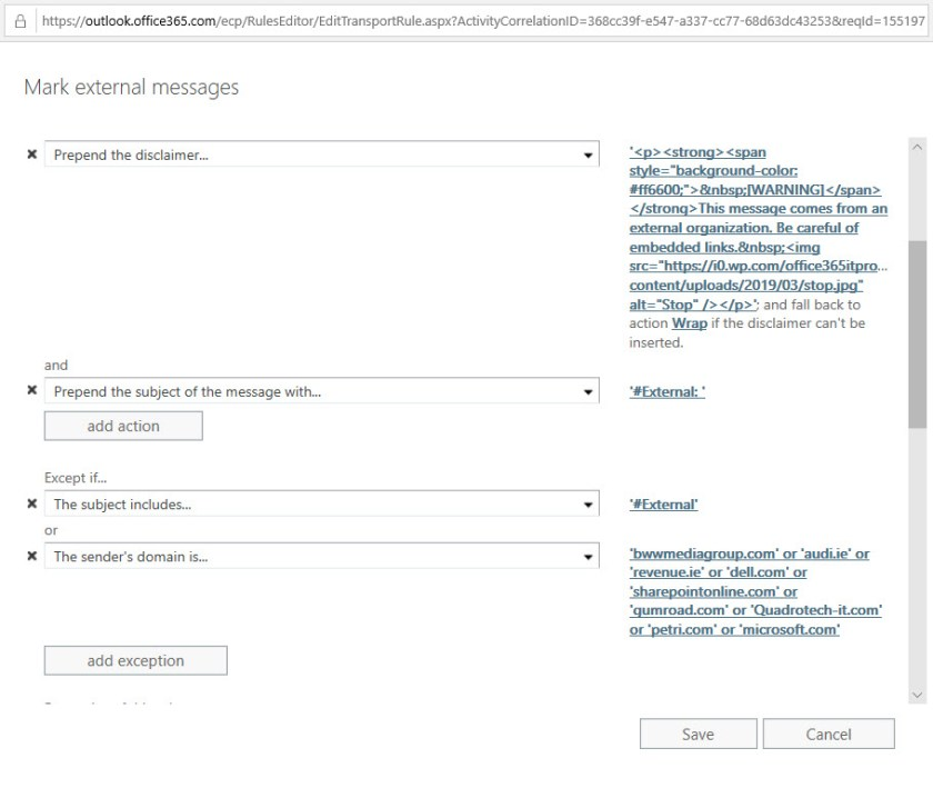 Configuring a transport rule to mark external email