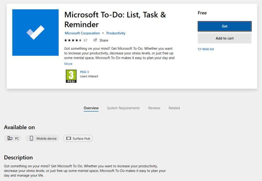 Microsoft To-Do is available through the Windows Store