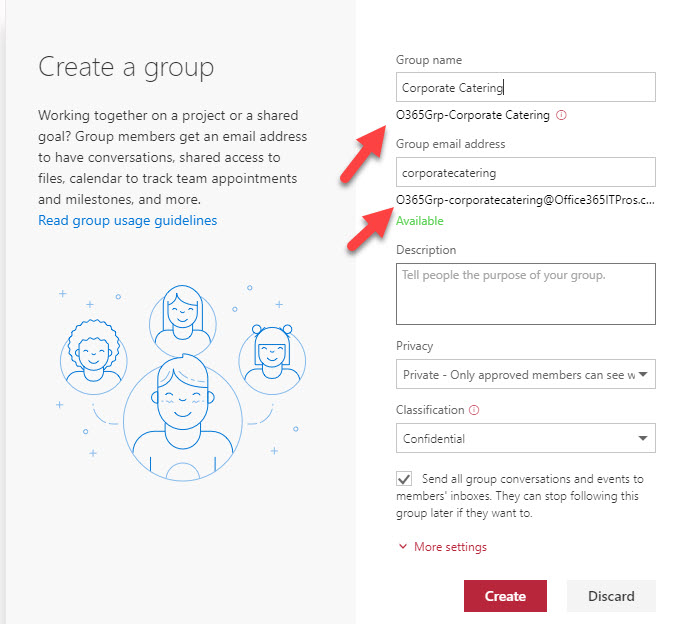 Office 365 Groups Naming Policy in action