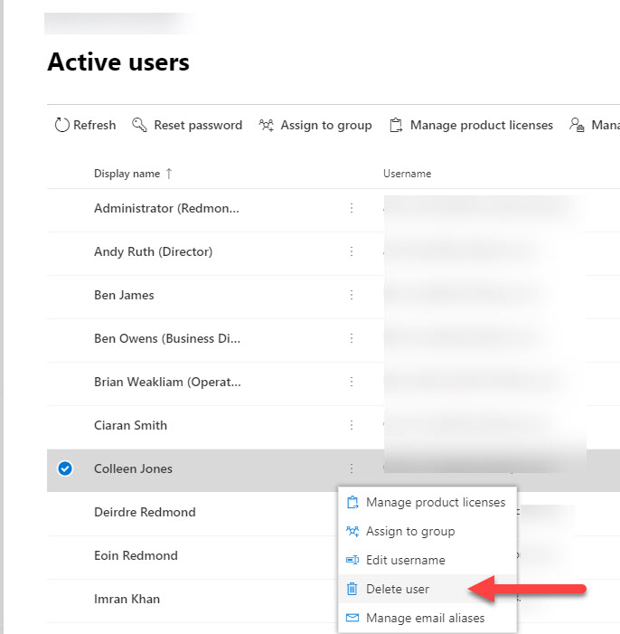 Deleting a user from the Office 365 Admin Center