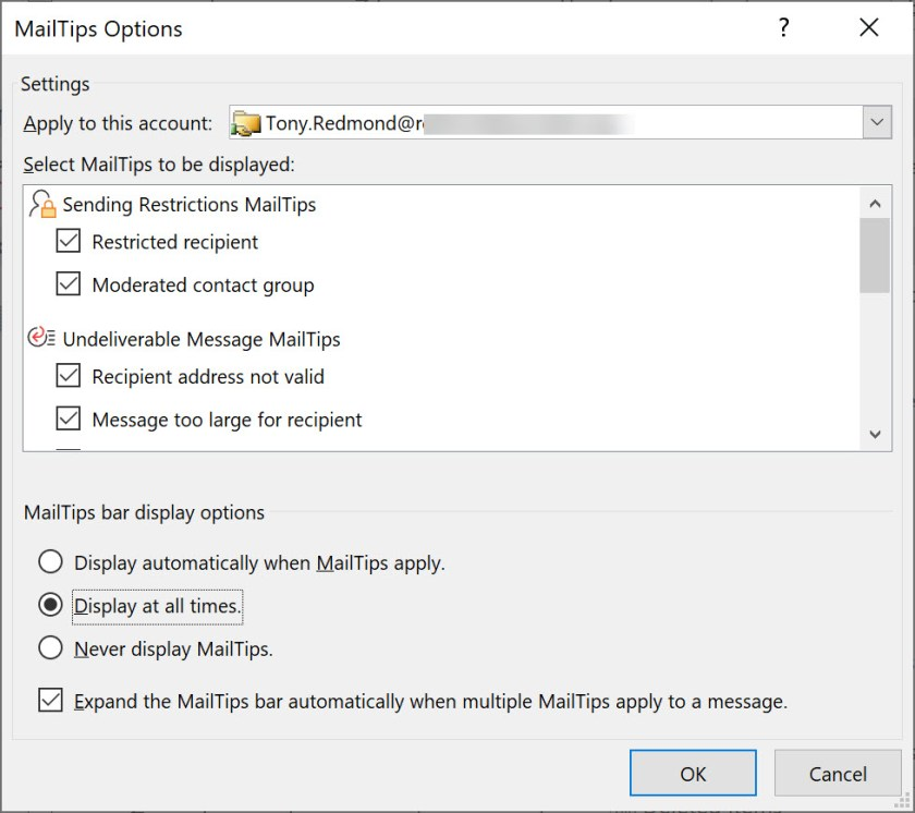 The MailTips options in Outlook for Windows