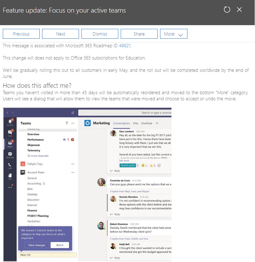 Focus on your active Teams - notification MC177587