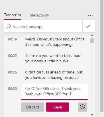 Correcting a Stream transcript