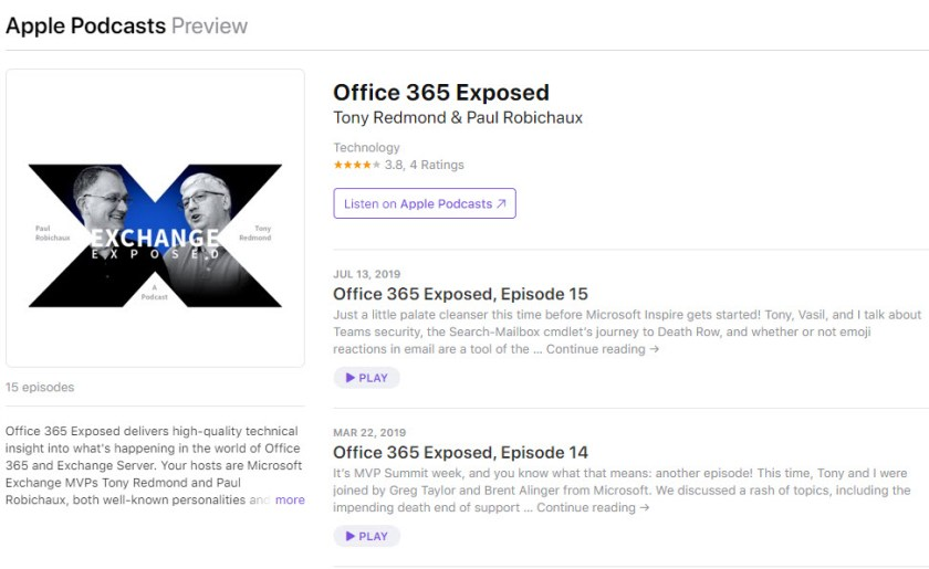 Office 365 Exposed Podcast Episode 15 on Apple iTunes