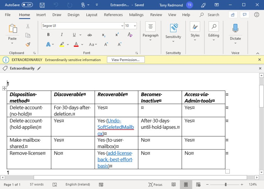 An Office 365 Sensitivity Label protects content in a Word document
