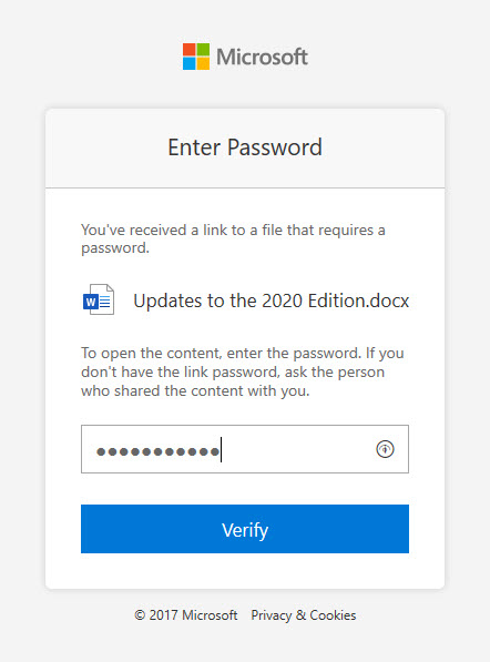 Entering a password for a sharing link