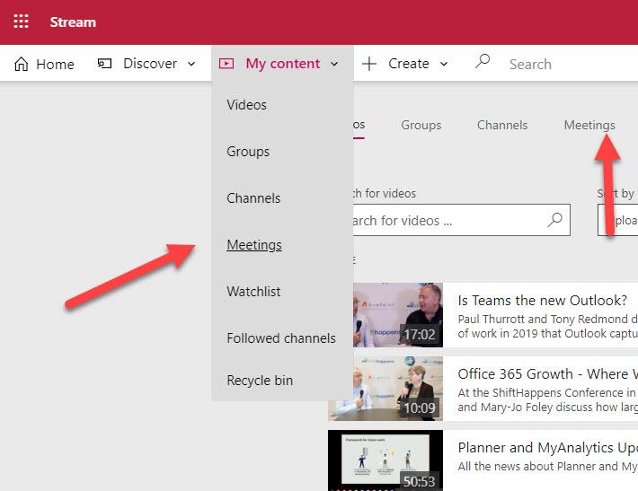 Two ways to find recordings of Teams meetings in Stream